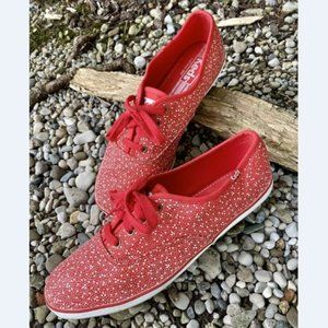 Keds Womens Red Canvas Lace Up Sneakers Sz 8.5